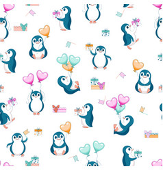 seamless background with penguins and balls vector image