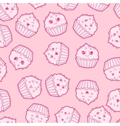 Seamless kawaii cartoon pattern with cute cupcakes vector