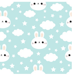 seamless pattern rabbit bunny hare face cloud in vector image