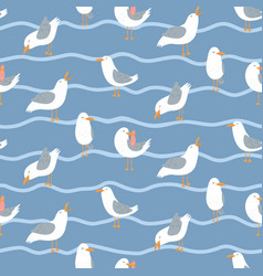 seamless pattern with seagulls and waves cute vector image