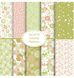 set 10 seamless floral and hearts background vector image