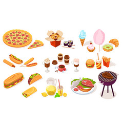 set fast and street food pizza hot dog meat vector image