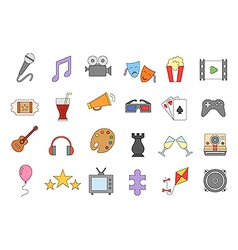 Set of entertainment colorful icons vector image