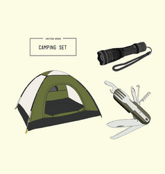 set of hand drawn camping equipment drawing vector image