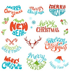 set of retro elements for Christmas designs vector image
