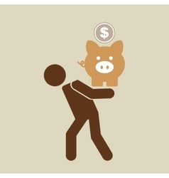 Silhouette man financial crisis piggy coin vector