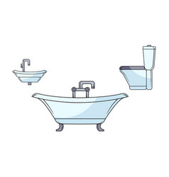 Sketch bathroom appliances set vector