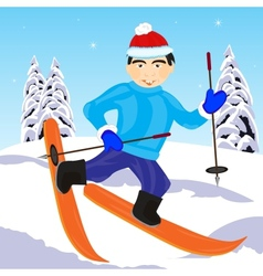 Skier in wood vector image