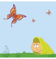 snail and butterflies vector image