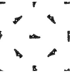 soccer shoe pattern seamless black vector image
