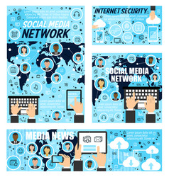 social network media news internet security vector image