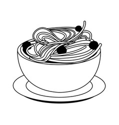Spaghetti with meatballs food icon image vector