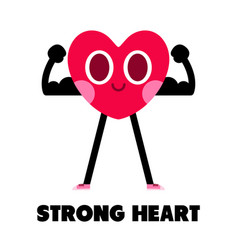Strong heart cartoon character ilustration vector