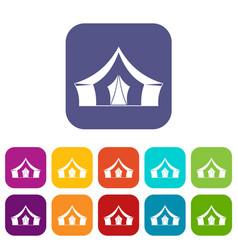 tent camping symbol icons set flat vector image
