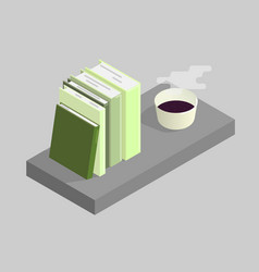 the of books and a cup of vector image