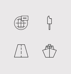 Travel simple linear icons set outlined icons vector