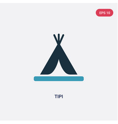 Two color tipi icon from stone age concept vector