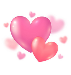 valentines day pink couple hearts on blurred vector image