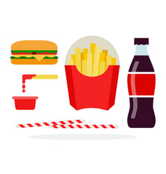 Veggie burger french fries in package soda vector