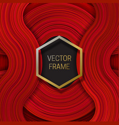 Volumetric frame on saturated background in red vector