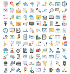 Web programming and hosting flat icons set every vector
