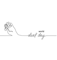 world deaf day simple one single line sketch vector image
