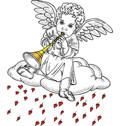 Cupid playing a pipe vector image vector image