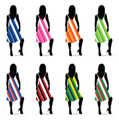 girl silhouette in dresess color set vector image