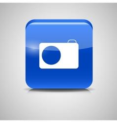 Glass Photo Button Icon vector image vector image