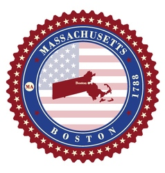 Label sticker cards of State Massachusetts USA vector image vector image