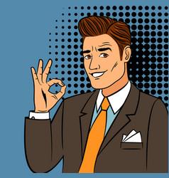 pop art man showing okay sign vector image