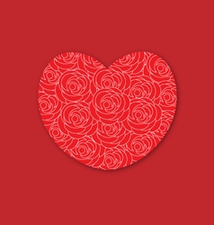 Red heart with roses vector image