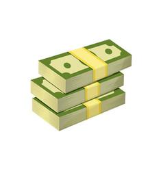 stacked pile of american dollars three bundles of vector image