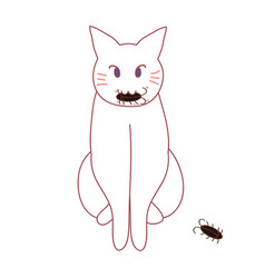 cat hunting cockroach vector image