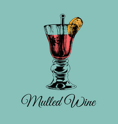 Mulled wine glass isolated hand drawn sketch of vector