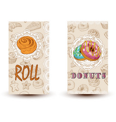 roll and donuts bakery shop perfect for vector image vector image