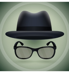 Black fedora and eyeglasses vector image