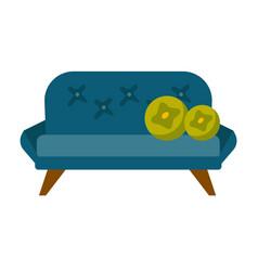 blue sofa with pillows cartoon vector image