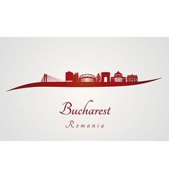 Bucharest skyline in red vector