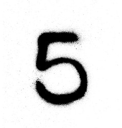 graffiti sprayed number 5 five in black on white vector image vector image