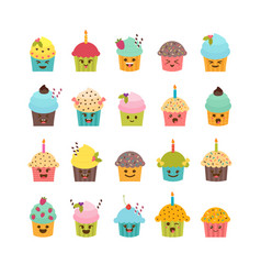 set of cupcakes and muffins cute cartoon vector image