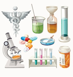 Set of supplies used in pharmacology vector image