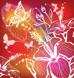 background with flowers hibiscus and butterfly vector image