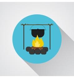 Campsite Bonfire with a camping pot - icon vector image