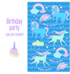 happy birthday holiday card with unicorns flags vector image