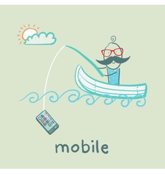 man swimming in the boat and a fishing rod catches vector image vector image