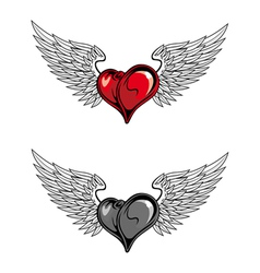 medieval heart with wings vector image vector image