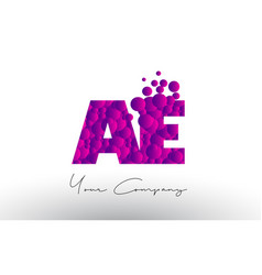 Ae a d dots letter logo with purple bubbles vector
