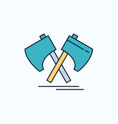 axe hatchet tool cutter viking flat icon green vector image