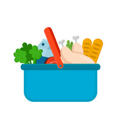 basket with products from the market vector image